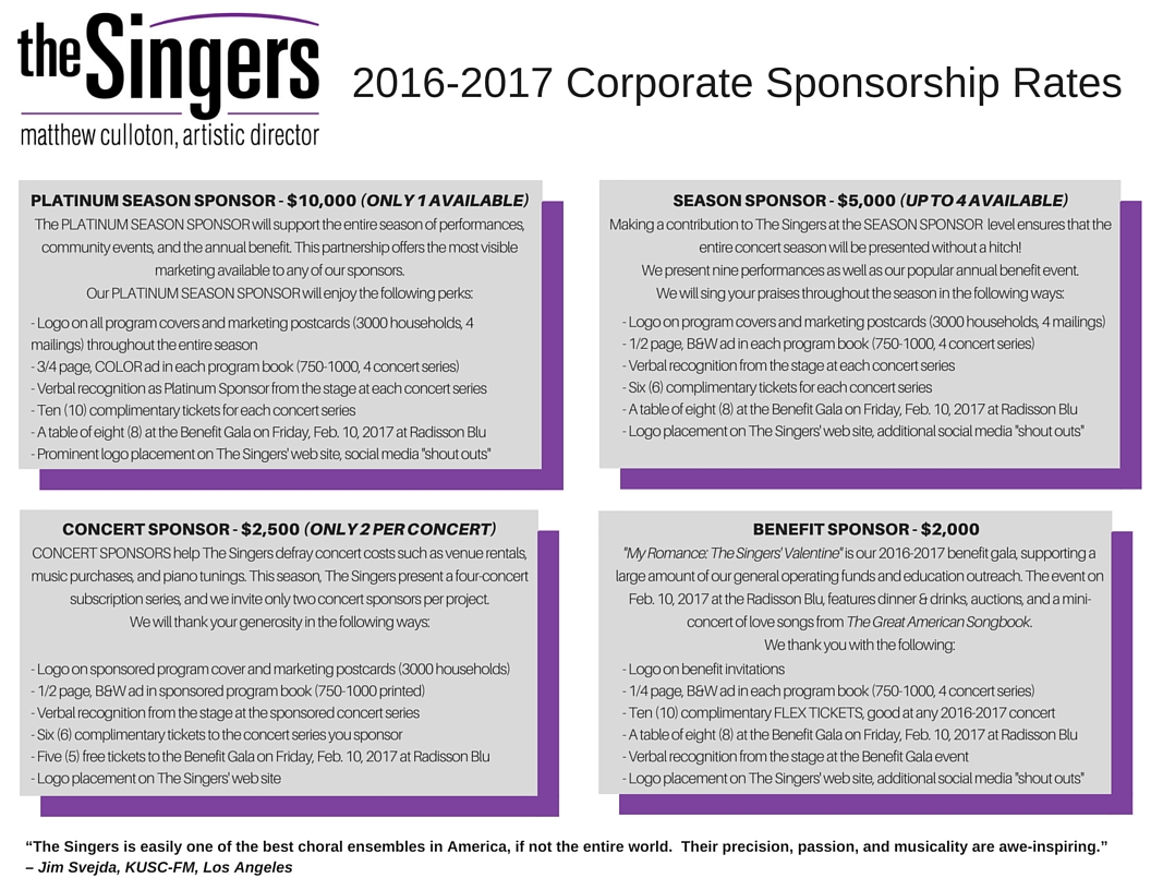 corporate sponsorship Learn about how us bancorp supports music, art, sports and education organizations and how you can submit a corporate sponsorship proposal.